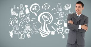 Businessman with idea brainstorm and Business graphics drawings Royalty Free Stock Photography
