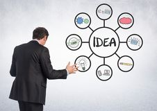 Businessman with idea business graphic drawings Stock Photography