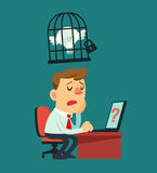 Businessman idea in a cage Stock Image