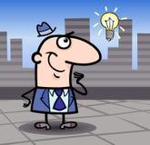 Businessman with idea cartoon illustration Stock Photos