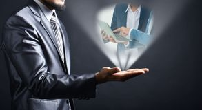 Businessman idea on hand. Idea Business people reading report on hand businessman.Businessman concept royalty free stock photography