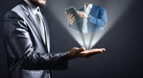 Businessman idea on hand. Idea Business people reading report on hand businessman.Businessman concept stock photos