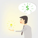 Businessman idea. Businessman have an idea and think about money Stock Photography