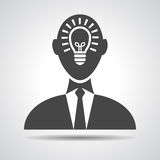 Businessman with idea in head icon Royalty Free Stock Image