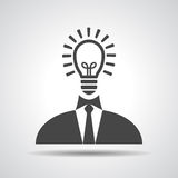 Businessman with idea in head icon. Illustration royalty free illustration
