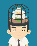 Businessman idea inside the birdcage Royalty Free Stock Image