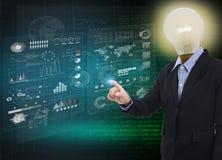 Businessman idea light bulb touching financial analysis graph. Royalty Free Stock Image
