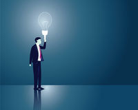 Businessman Idea Light Concept. Vector illustration. Business idea concept. Businessman holding idea light bulb to lighten his way in darkness. Future, vision Royalty Free Stock Photos