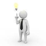 Businessman with idea lightbulb. 3d businessman with idea lightbulb on white background Stock Images