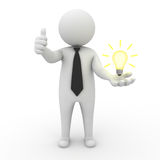 Businessman with idea lightbulb in hand. 3d businessman with idea lightbulb on his hand over white background Royalty Free Stock Photos