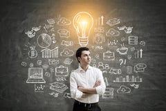 Businessman and idea scheme Stock Image