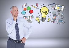 Businessman with ideas and computer graphic drawings Stock Photo