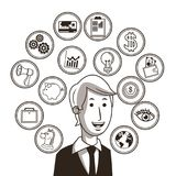 Businessman ideas and icon set. Business. Vector graphic. Business concept represented by businessman ideas and icon set. Black and White colors. Draw and Stock Images