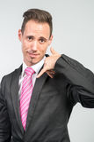 Businessman illustrates phone Royalty Free Stock Images