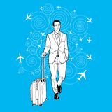 Businessman carrying a luggage at the airport Royalty Free Stock Photo
