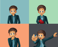 Businessman. Illustration of four poses of bussinessman Stock Photo