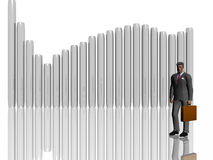Businessman  illustration over white. Businessman over white, isolated. 3D illustration render. A businessman in front of a graphic chart.  Ups and downs in Royalty Free Stock Photo