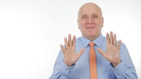 Businessman Image Gesturing and Talking in a Business Meeting royalty free stock photography