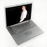 Businessman Image on Laptop Computer. Image of businessman on Laptop Computer Screen royalty free stock images