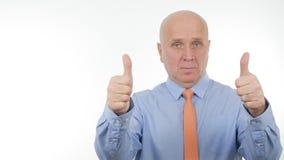 Businessman Image Make Double Thumbs Up Good Job Sign royalty free stock photos
