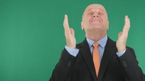 Businessman Image Smile and Gesticulate Happy With Green Screen in Background.  royalty free stock photo