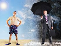 Businessman Imagining Of Summer Vacation. Businessman in rain holding umbrella while imagining summer vacation Stock Photo