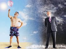 Businessman Imagining Summer Vacation At Beach. Businessman in rain imagining summer vacation Royalty Free Stock Photos