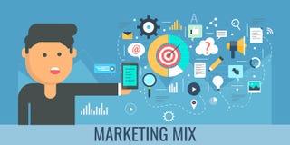 Digital marketing mix, internet promotion, content development, publishing, video, email, marketing concept. Flat design banner. Businessman implementing stock illustration