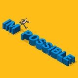 Businessman from impossible to possible flat 3d isometric vector Royalty Free Stock Photography