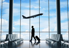 Businessman In Airport Stock Images