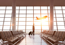 Businessman In Airport Royalty Free Stock Photography