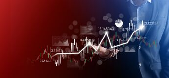 Free Businessman In Hand Hold Banking Business Finance Graph And Invest In Stock Market Investment Point,economic Growth And Investor Stock Photography - 221280602