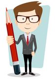 Businessman In Jacket With A Big Red Pencil Stock Photo
