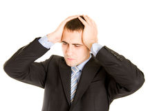 Businessman In Panic. Royalty Free Stock Photography