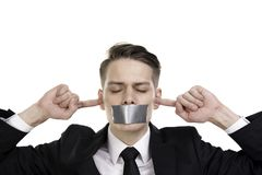 Free Businessman In Suite With Closed Eyes, Ears And Tape Over His Mouth Stock Photo - 108665580