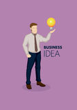 Businessman with Incandescent Light Bulb Vector Illustration Stock Photography
