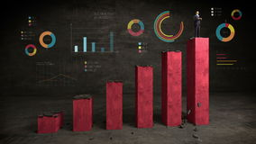 Businessman on increase bar graph with various diagram, rising market stock footage
