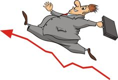 Businessman and increase in the stock market Stock Photography