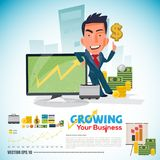 Businessman with with Increasing Graph or Chart on screen. money. And finance concept. character design -  illustration Royalty Free Stock Photography