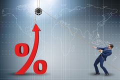 The businessman increasing interest rate in market. Businessman increasing interest rate in market vector illustration