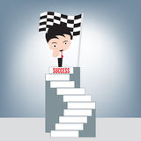 Businessman and index finger point at you on top stair of success and winner finish flag background, achievement success concept, royalty free illustration