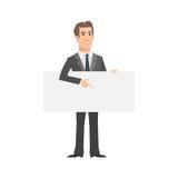 Businessman indicates on empty nameplate Stock Photo