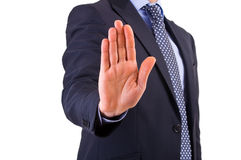 Businessman indicating stop with his hand. Stock Photos