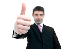 Businessman Indicating Thumbs Up Stock Photo