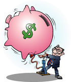 A businessman inflated economy dollar. Vector cartoon illustration of a businessman inflated economy dollar Stock Image