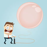 Businessman inflating a big balloon Stock Photo