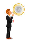 Businessman inflating a bubble with euro Stock Image