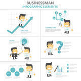 Businessman Infographic Elements Flat Design Set, Man With Light Bulb, Smartphone, Growth, 4p Strategy Cartoon Royalty Free Stock Photography