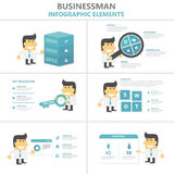 Businessman Infographic elements flat design vector set for marketing advertising, buinessman cartoon vector Royalty Free Stock Photography