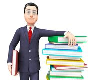 Businessman With Information Represents Textbook Knowledge And Train Royalty Free Stock Images